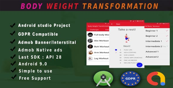 Best Body weight and fitness app android Full Source code With ADMOB, GDPR and api 28