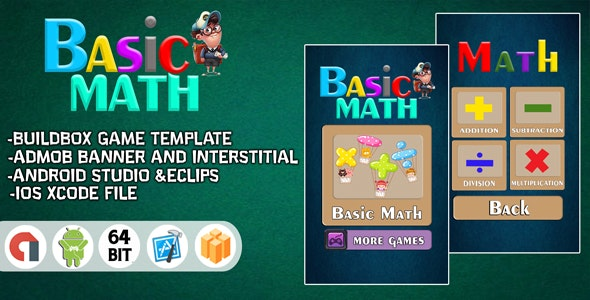 BASIC MATH FOR KIDS - ANDROID STUDIO + ADMOB - CodeCanyon Item for Sale