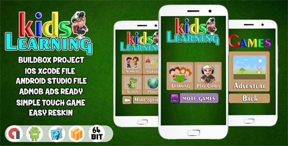 LEARNING KIDS - FULL EDUCATIONAL GAME FOR KIDS ( ANDROID STUDIO + ADMOB) - CodeCanyon Item for Sale
