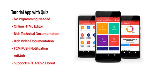 Tutorial App with Quiz | Native Android Offline Learning App with AdMob & Firebase PUSH Notification