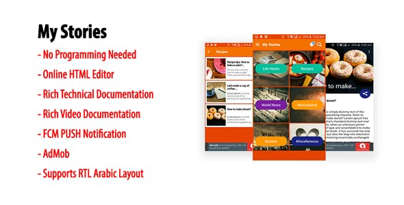 My Stories   Native Android Multi-category Storybook App with AdMob & FCM PUSH Notification