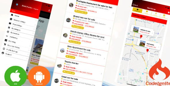 Listpack Ionic 4 Classified Ads/Business Listing  Android & Ios + Backend, Full Application