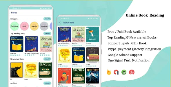 EBook App (Free/Paid. Paypal, PDF, ePub, Online Book Reading, Download Book) Admin Panel
