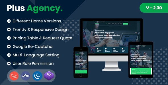 PlusAgency - Multipurpose Website CMS & Business Agency Management System - CodeCanyon Item for Sale