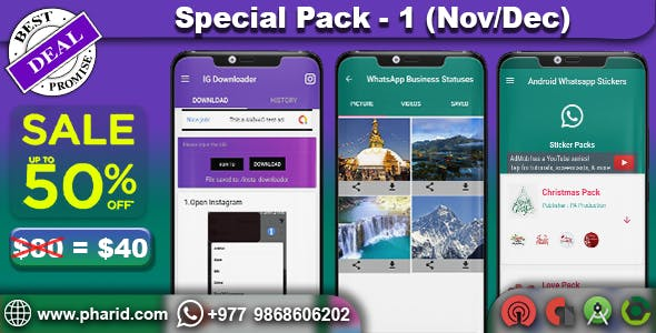 Special Pack 1 - IG Downloader, Status Saver & Online Stickers | Nov-Dec Biggest Sale