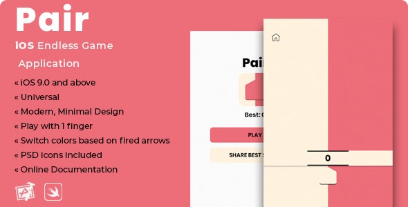 Pair | iOS Minimal Endless Game Application - CodeCanyon Item for Sale