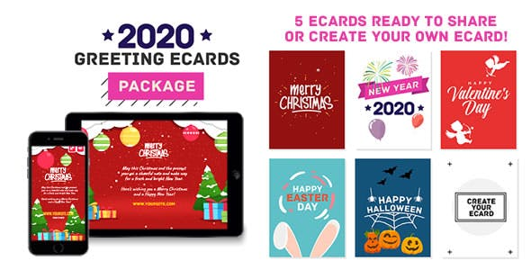 2020 Greeting eCards Package (Christmas, New Year, Valentine, Easter Day, Halloween) - HTML5 Canvas