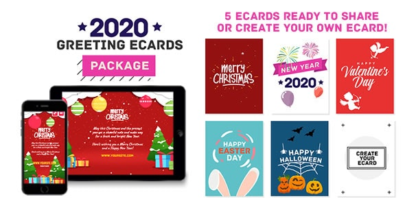 2020 Greeting eCards Package (Christmas, New Year, Valentine, Easter Day, Halloween) - HTML5 Canvas - CodeCanyon Item for Sale