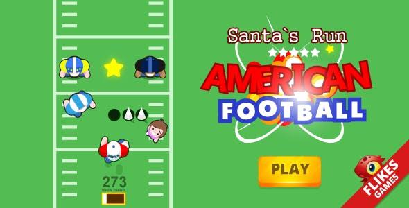 American football: Santa`s run - Construct 2, HTML5, responsive, mobile, AdSense