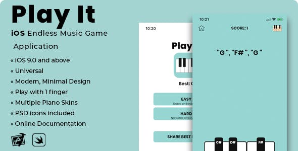 Play It | iOS Minimal Endless Music Game Application