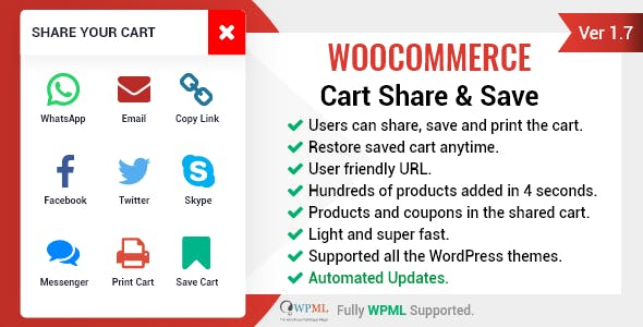 WooCommerce Cart Share and Save