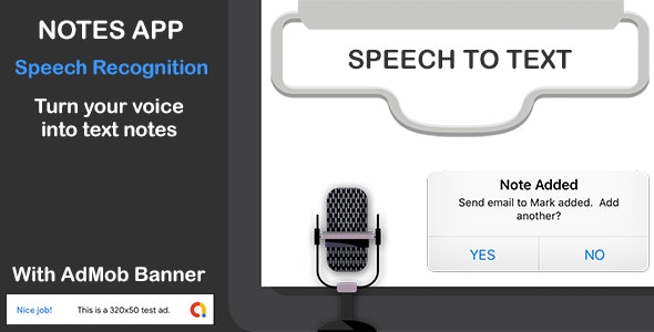 SPEECH TO TEXT NOTES APP for iPhone with AdMob Banner - CodeCanyon Item for Sale