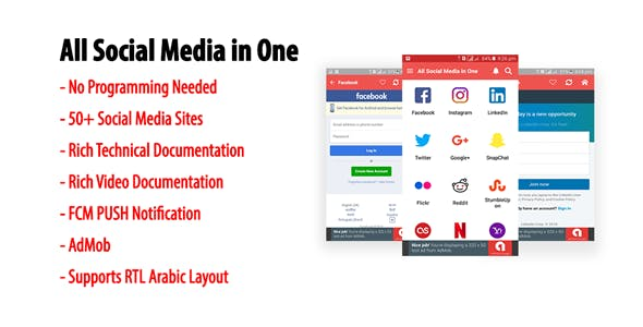 All Social Media in One | A Multi-site Android Application with AdMob & FCM PUSH Notification