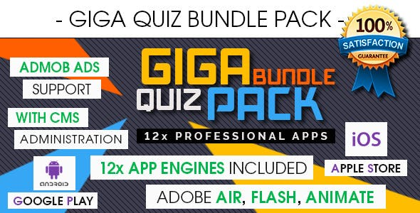 Giga Quiz Bundle Pack - Android & iOS [ 12x Apps - 2020 Edition ]