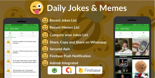 Daily Jokes & Memes Android App (Comedy, Funny, Joke, Memes) - CodeCanyon Item for Sale