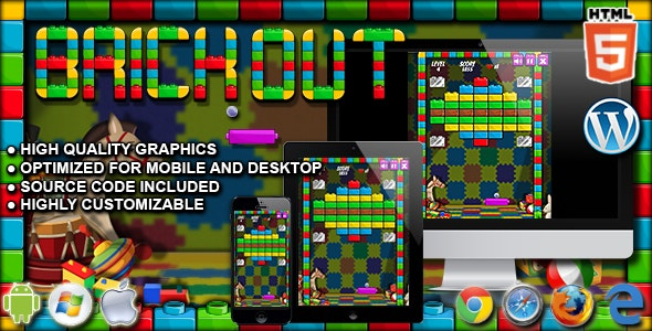 Brick Out - HTML5 Arcade Game - CodeCanyon Item for Sale