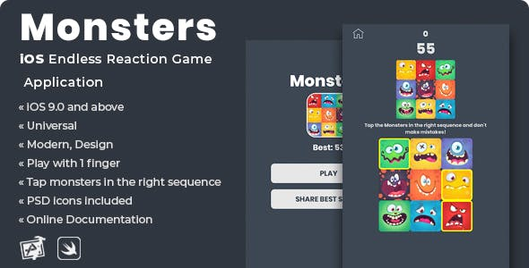 Monsters | iOS Endless Reaction Game Application