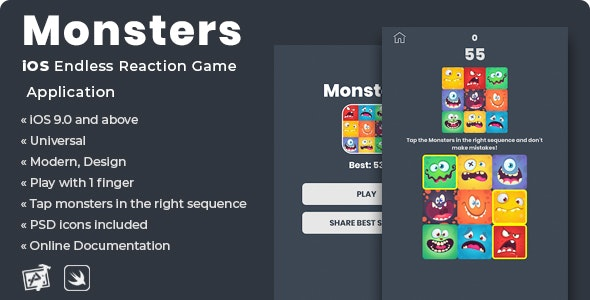 Monsters   iOS Endless Reaction Game Application - CodeCanyon Item for Sale
