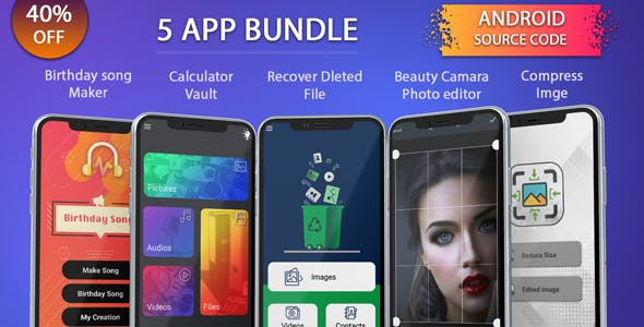 5 app android source code bundle, pack, combo