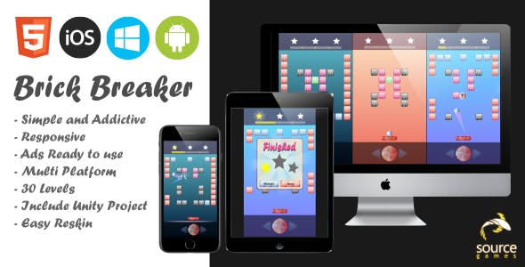 Candy Brick Breaker - HTML 5, Mobile and Browser Game