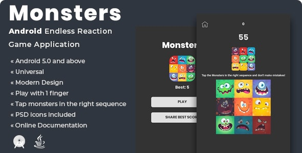 Monsters | Android Endless Reaction Game Application - CodeCanyon Item for Sale