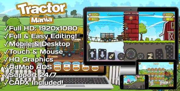 Tractor Mania - HTML5 Game + Mobile Version! (Construct 3 | Construct 2 | Capx)