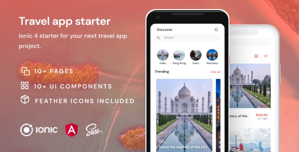 Travel App | Ionic 4 | Angular | UI Theme | Template App | Starter App & Components - CodeCanyon Item for Sale