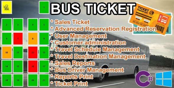 Bus Ticket - MySQL C# Advanced Seat Reservation Management - CodeCanyon Item for Sale