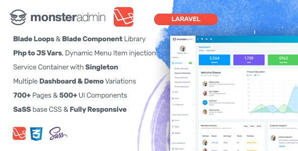 Monster Laravel Admin Templates - CodeCanyon Item for Sale