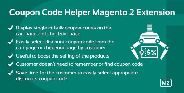 Coupon Code Helper Magento 2 Extension