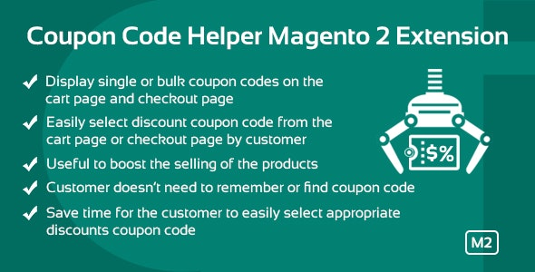 Coupon Code Helper Magento 2 Extension - CodeCanyon Item for Sale