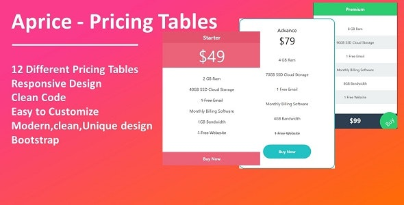Aprice - Pricing Tables - CodeCanyon Item for Sale