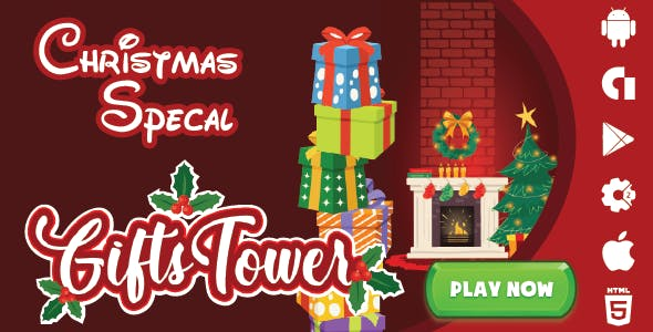 Christmas Gift Tower - HTML5 Mobile Game AdMob (Construct 3 | Construct 2 | Capx)