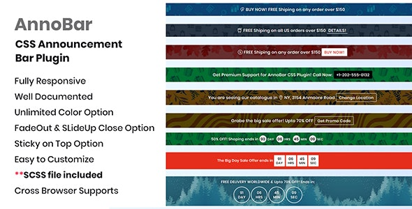 AnnoBar - CSS Announcement Bar Plugin - CodeCanyon Item for Sale