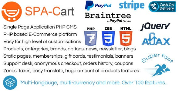 SPA-Cart - fully featured eCommerce CMS platform. Very fast ajaxfied pages. Single Page Application.