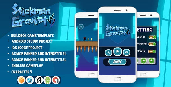 Stickman vs Gravity - Buildbox project + Android studio+Admob - CodeCanyon Item for Sale