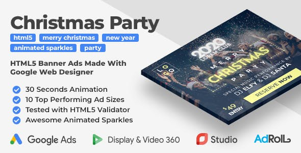 Merry Christmas and Happy New Year Party HTML5 Banner Ad Templates (GWD)