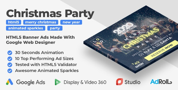 Merry Christmas and Happy New Year Party HTML5 Banner Ad Templates (GWD) - CodeCanyon Item for Sale