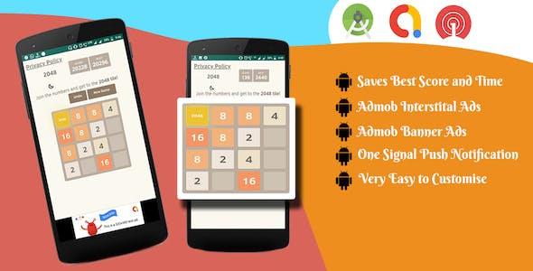 2048 Number Puzzle Game - Android | Admob + OneSignal Push Notifications Integrated