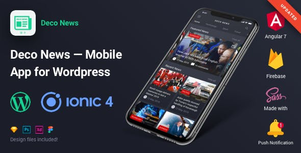 Deco News - Ionic 4 Mobile App for Wordpress, Angular 7, Sass, Firebase, AdMob, OneSignal