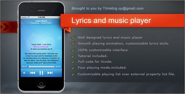 Lyrics and music player for iPhone