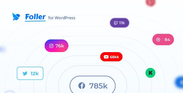 Social followers bar for WordPress – Foller
