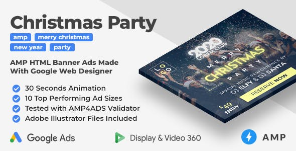 Merry Christmas and Happy New Year Party AMP HTML Banner Ad Templates (GWD, AMP)