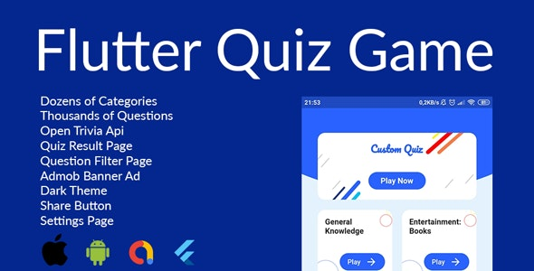 Quiz Flutter App(Android&IOS) - CodeCanyon Item for Sale