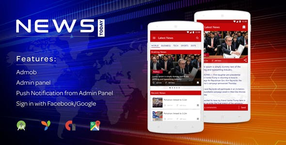 Newstoday - A news android app with admin panel
