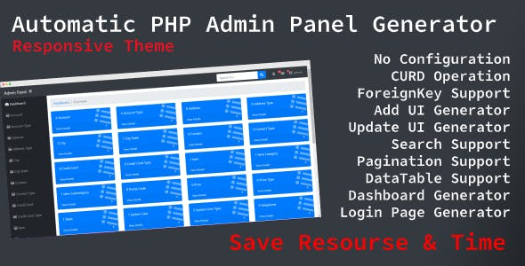 Automatic Admin Panel Generator (PHP) From MySQL With Responsive Template
