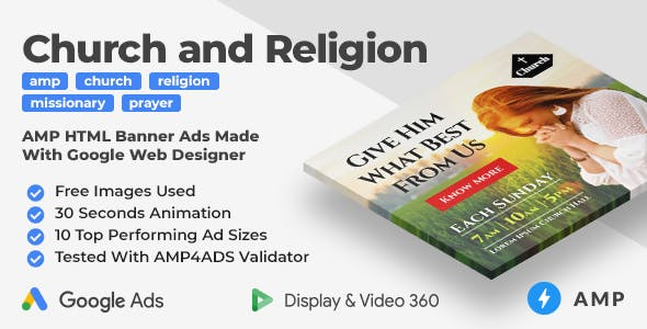 Church and Religion Animated AMP HTML Banner Ad Templates (GWD)