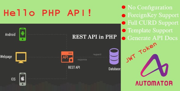 Automatic PHP REST API Generator from MySQL Database With JWT Token Authentication - CodeCanyon Item for Sale