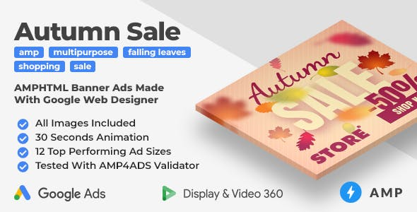 Autumn Sale - Shopping Animated AMP HTML Banner Ad Templates (GWD, AMP)