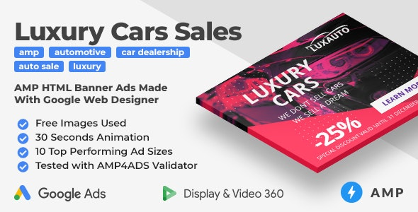 Luxauto - Luxury Cars Sales & Service Animated AMP HTML Banner Ad Templates (GWD, AMP) - CodeCanyon Item for Sale